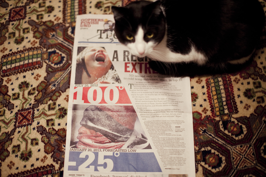 Mr. Tux the cat on the front page headlines of extreme cold in Minnesota.