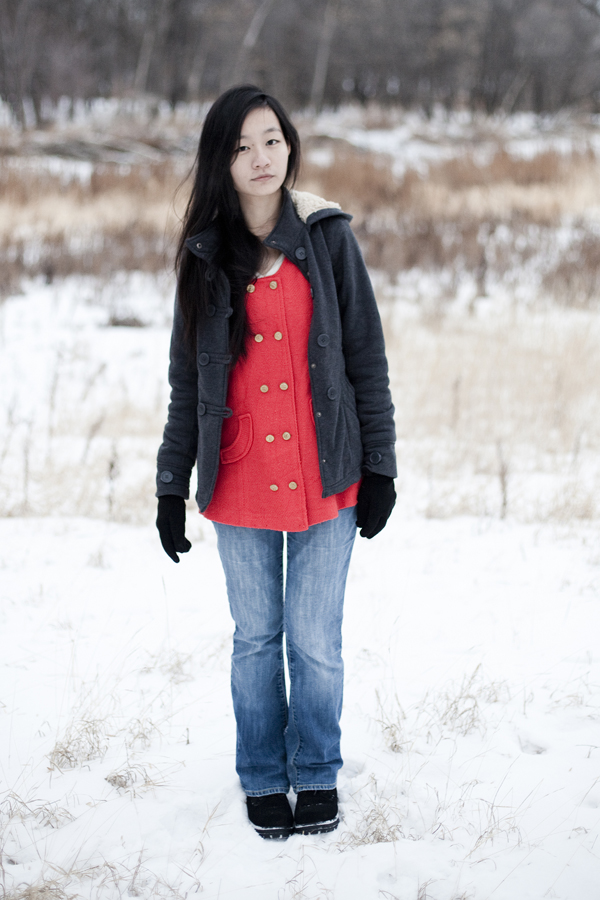 Outfit of the day: Thrifted red vest, Dollhouse grey hooded jacket, borrowed Gap jeans.
