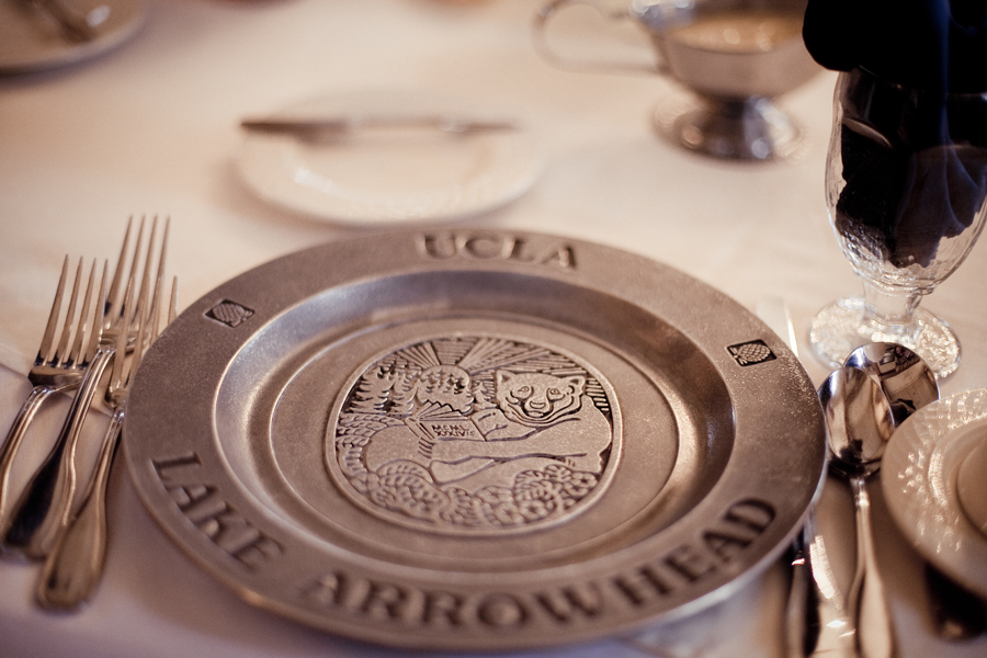 Bruin pewter plate at the dining hall in UCLA Conference Center in Lake Arrowhead.