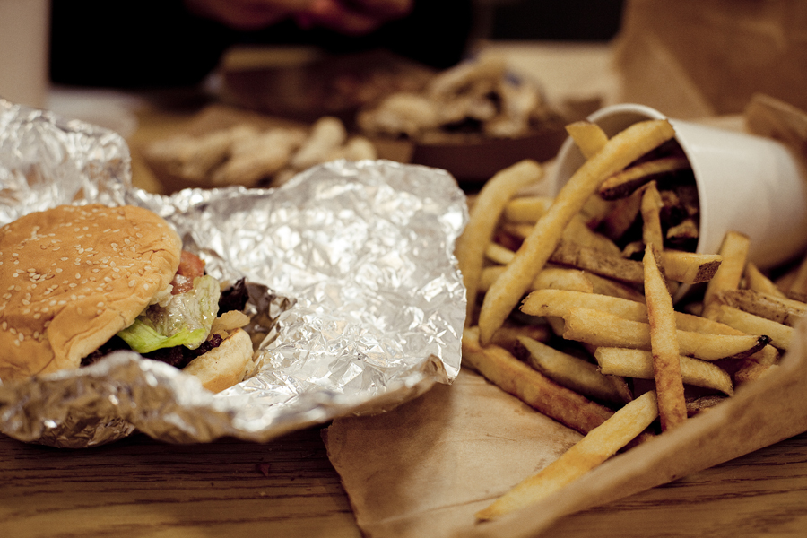 Burger and fries at Five Guys in Los Angeles.
