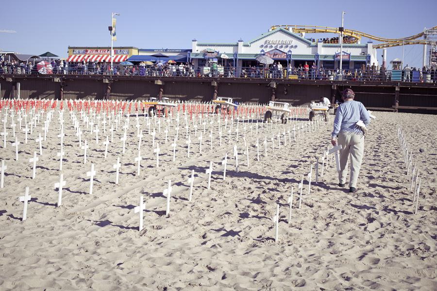 Veteran memorial grounds on Santa Monica beach, Los Angeles.
