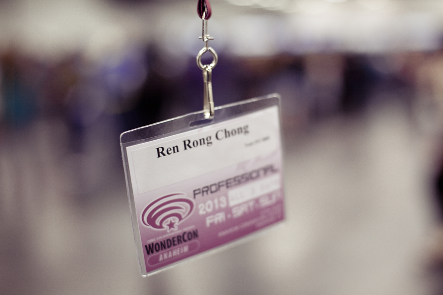 My professional badge for Wondercon 2013 at the registration.