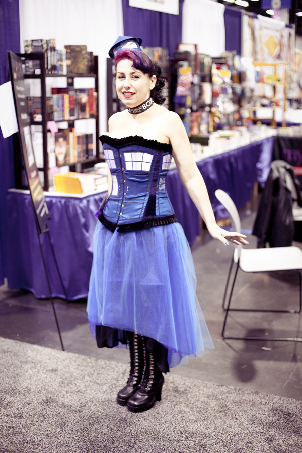 Dr. Who phone booth dress cosplay at Wondercon 2013.