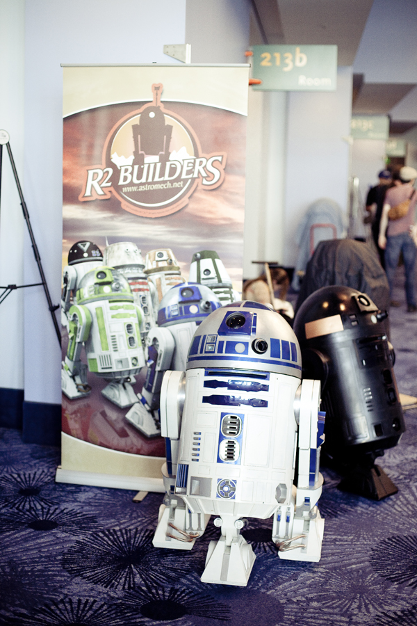 R2-D2 droids queueing outside the panel at Wondercon 2013.