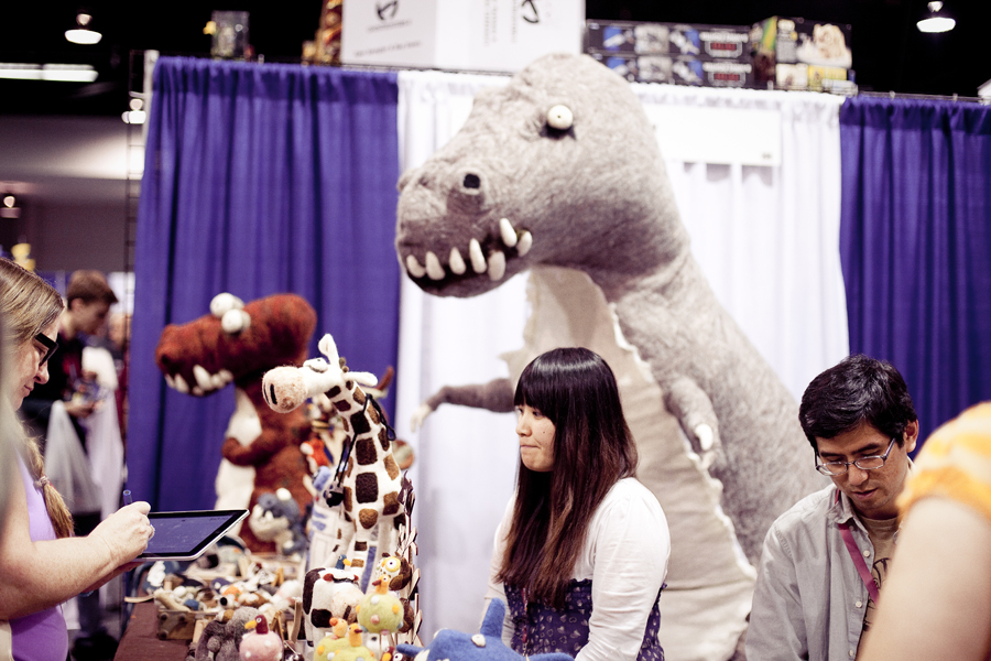 Wool toys and a giant wool T-rex at Wondercon 2013.