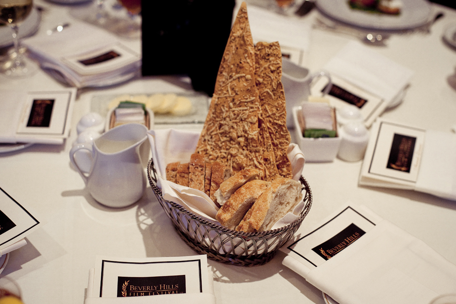 Basket of bread at the Beverly Hills Film Festival awards ceremony at the Four Seasons Hotel.