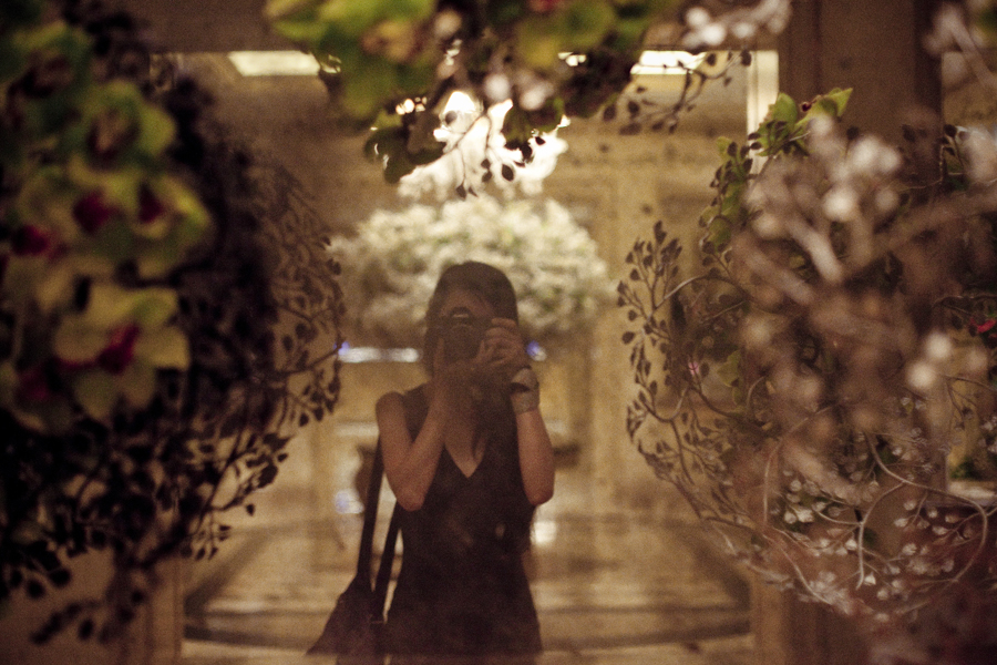 Self-portrait at the beautifully-decorated mirror at the Four Seasons Hotel.