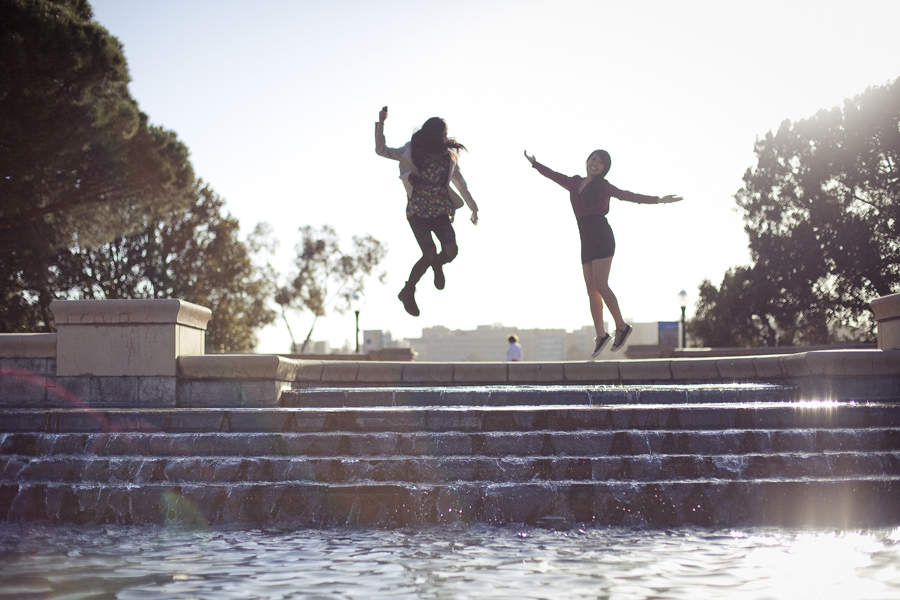 Ren and Lilli jumping at the fountain in front of Royce Hall, UCLA.