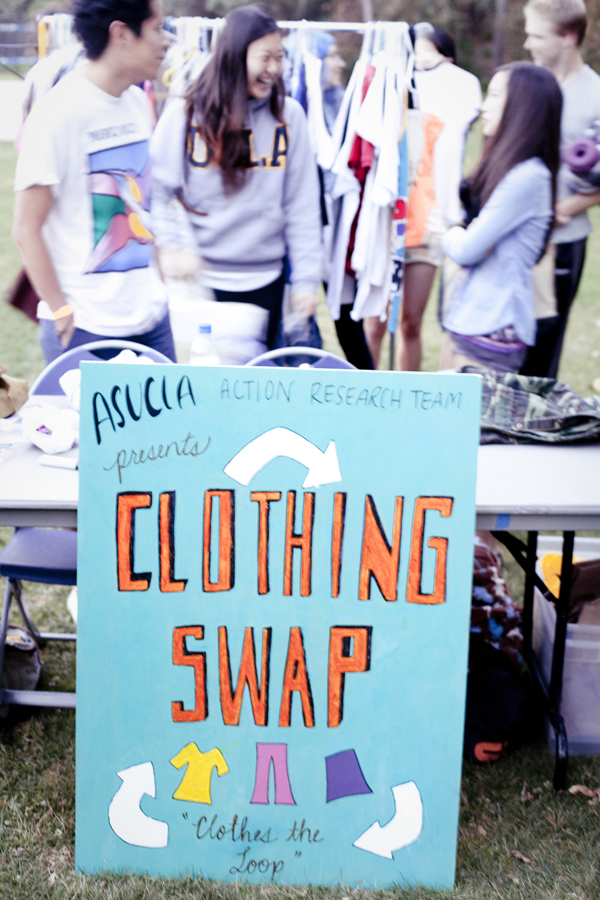Clothing Swap booth at Ecochella in UCLA.