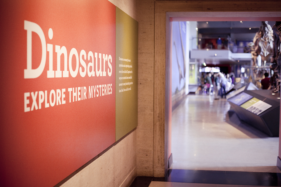 Entrance of the dinosaur exhibit at the Natural History Museum in Los Angeles.