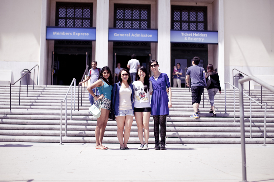 Nam, Ela, Lilli and Ren in front of the Natural History Museum in Los Angeles.