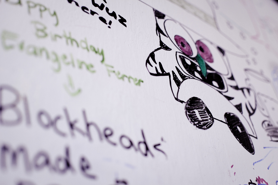 Decorated whiteboard on a wall at Blockheads in 'Little Osaka' Sawtelle, Los Angeles.