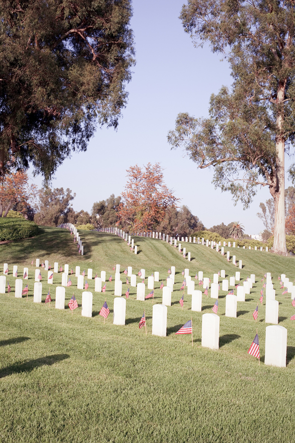 Markers at the Los Angeles National Cemetery.