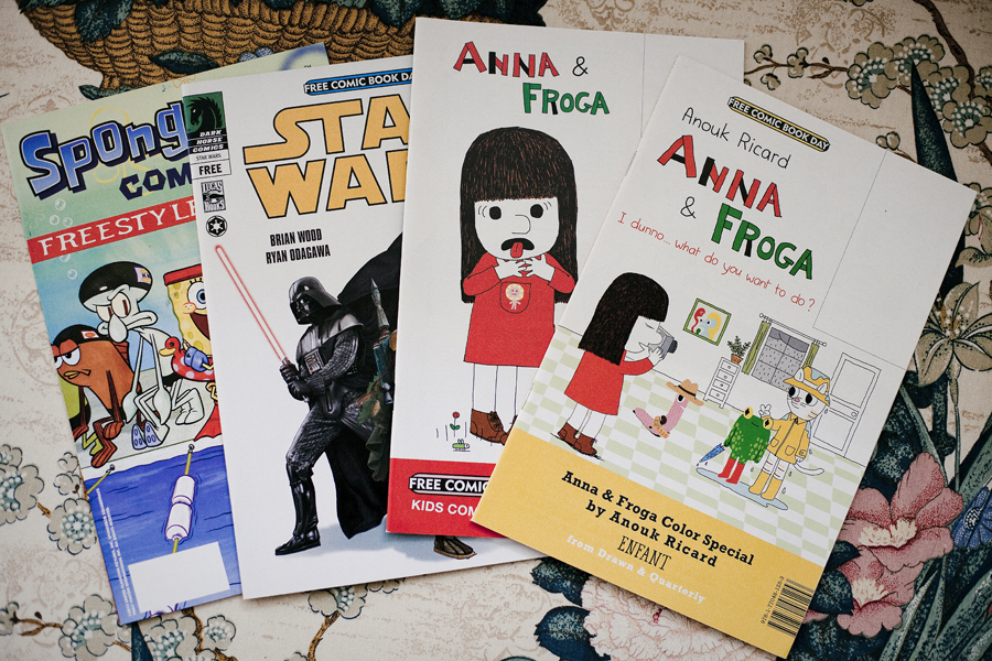 Free comics from Free Comic Book Day, May the Fourth. Star Wars, Spongbob Squarepants, Anna & Froga.