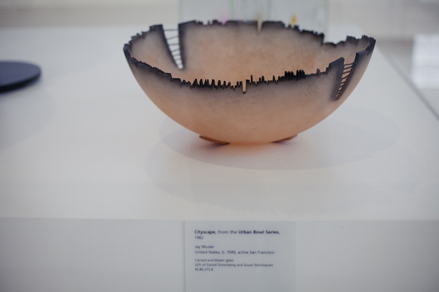 Cityscape, from the Urban Bowl Series, on display at the The Studio Glass Movement, 1962-2012 in LACMA, Los Angeles.