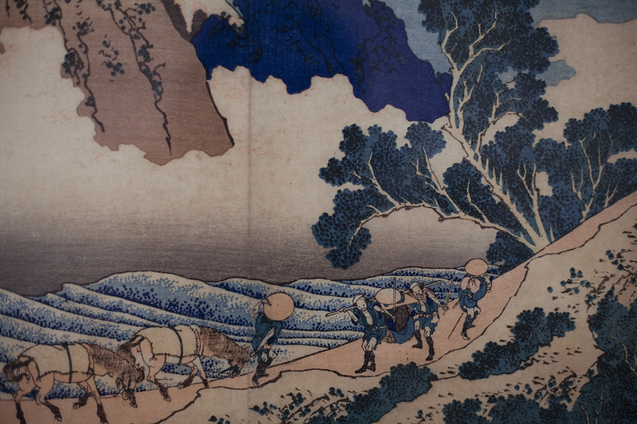Exhibited woodblock prints from Katsushika Hokusai at LACMA, Los Angeles.