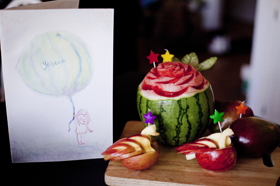 Watercolour birthday card and Carved watermelon flower and swan apples.
