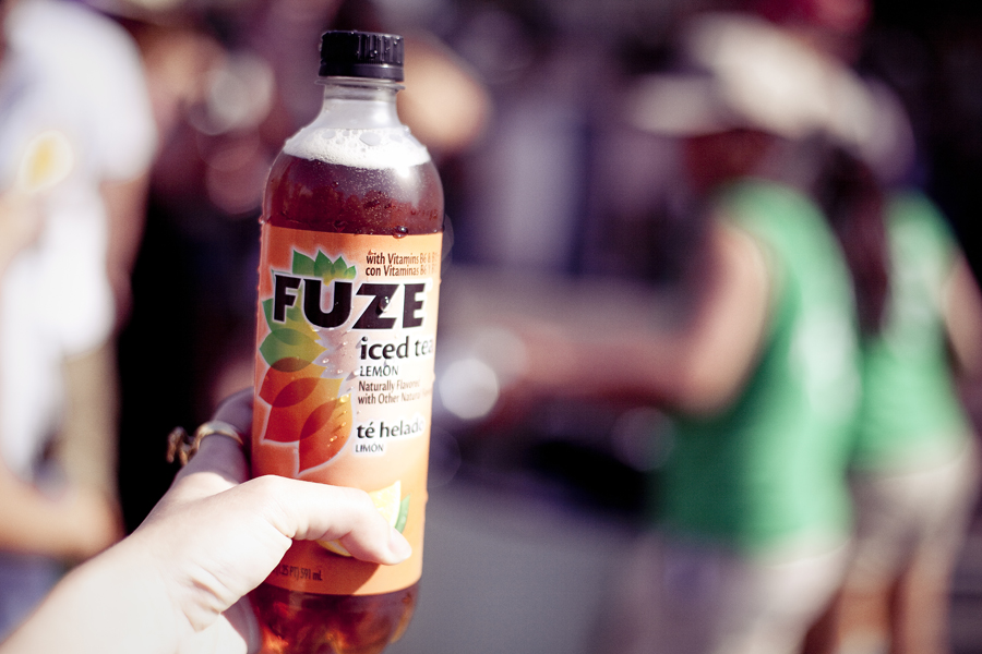 Free bottle of Fuze iced tea drink at Make Music Pasadena.