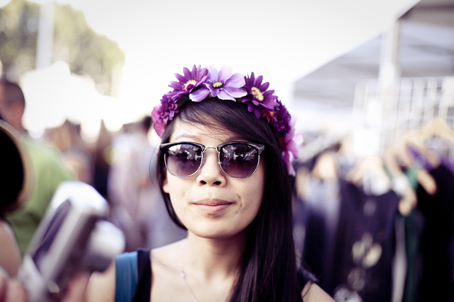 Lilli's flower wreath bought at Make Music Pasadena.