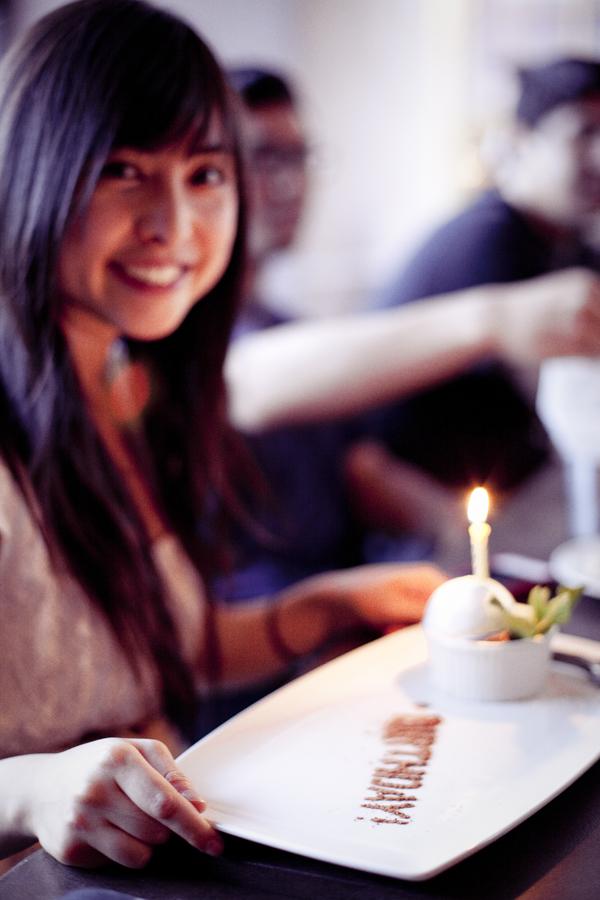 Ssen's birthday dessert during dinner.