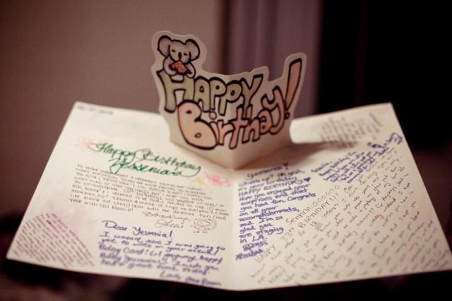 Ssen's birthday pop-up card.