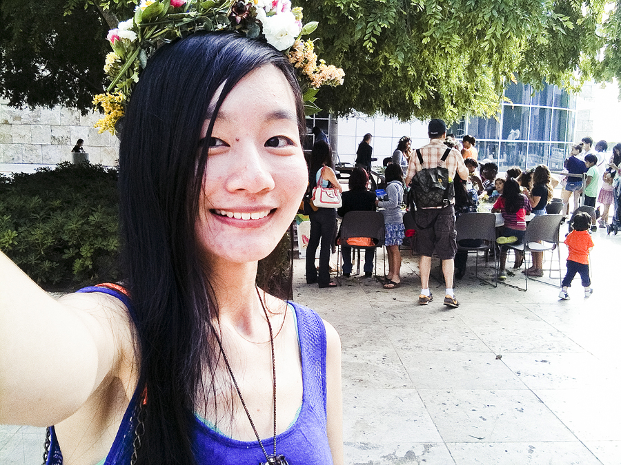 Selfie with my floral wreath at the Getty Center.