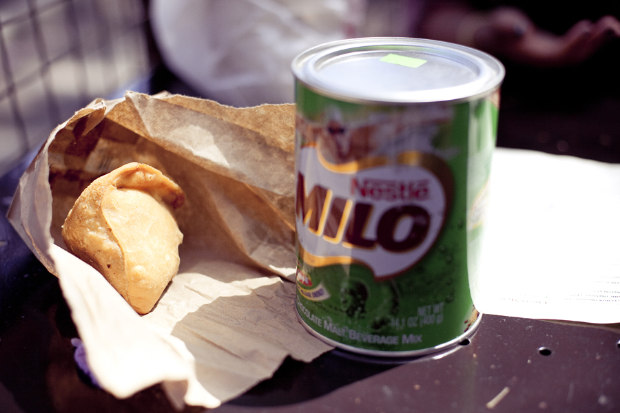 Samosas and a tin of Milo malt chocolate in Culver City.
