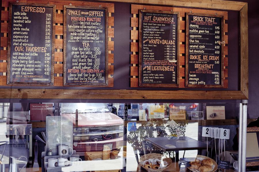 Menu at Chimney Brick Toast Coffee House in downtown LA.