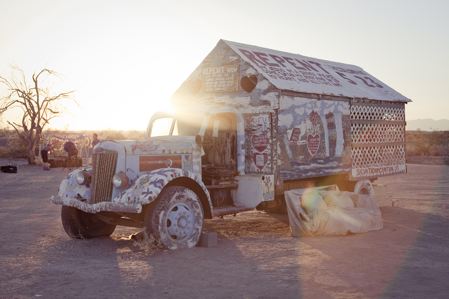 Caravans by Salvation Mountain.