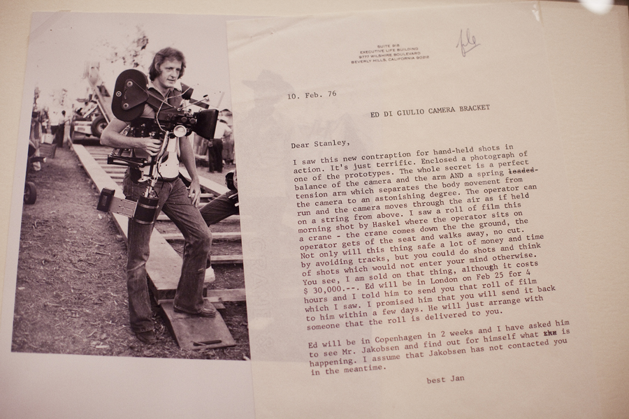 Letter describing the creation of the steadicam at the Stanley Kubrick exhibit at LACMA.