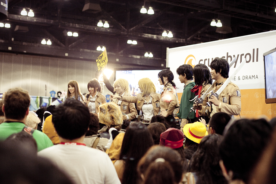 Shingeki no Kyojin (Attack on Titan) cosplayers at the Crunchyroll stage at Anime Expo 2013.