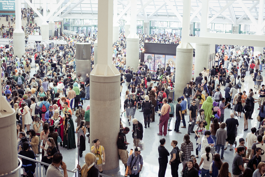 Crowded atrium at Anime Expo 2013.