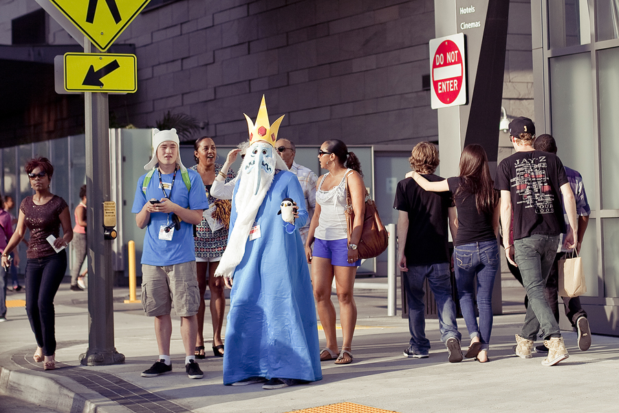 Adventure Time cosplay Finn and the Ice King at Anime Expo 2013.