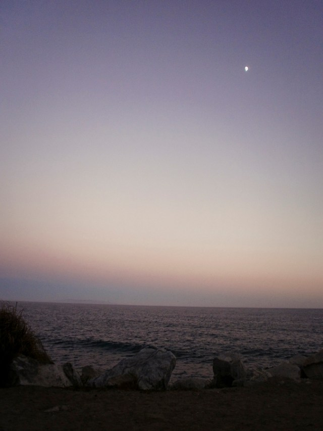 View of twilight at Malibu beach.