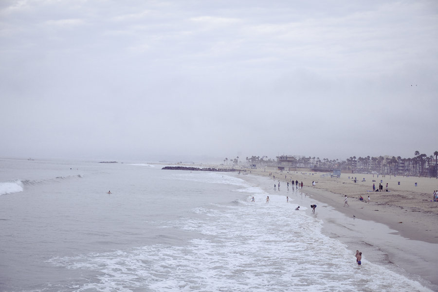 Venice Beach from the jetty on a foggy Los Angeles walk.
