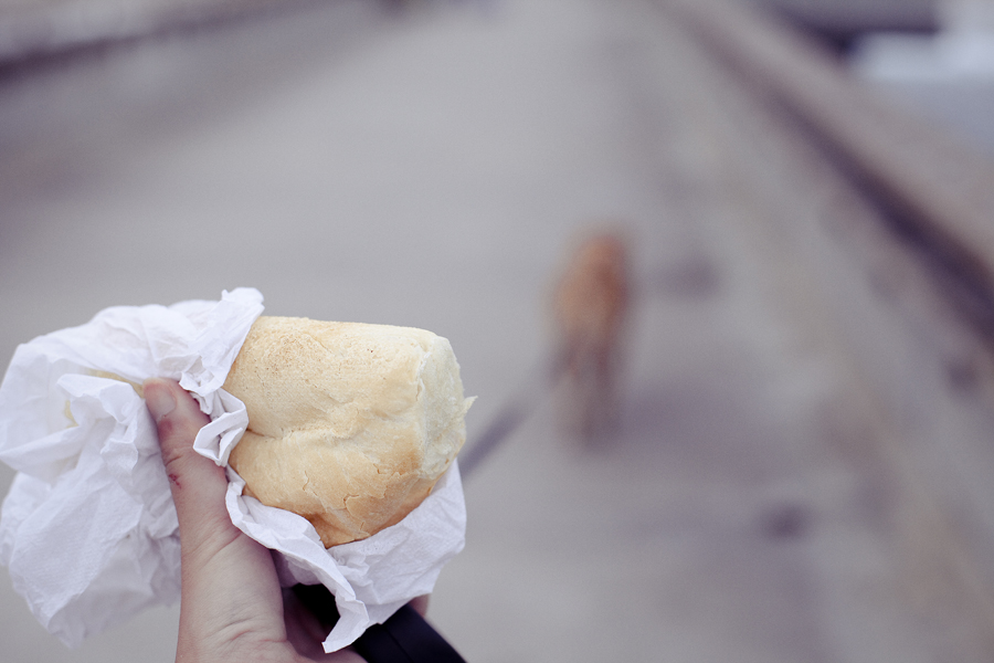 Warm bread that was given to Annabel on her walk at the jetty on Venice Beach, Los Angeles.