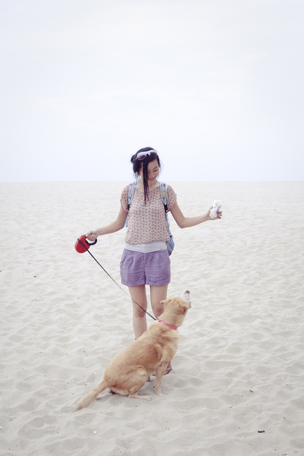 Ren walking Annabel. OOTD Uniqlo grey bratop, Forever 21 chiffon tulip-back top, Forever 21 purple shorts, Top Shoes brown zippered boots.