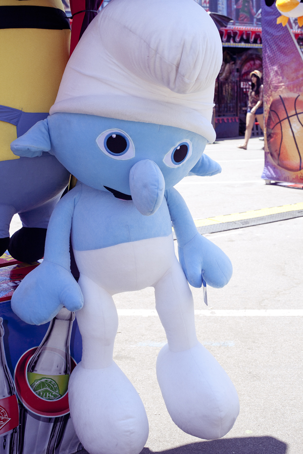 Smurf plush prizes at the Orange County Fair.