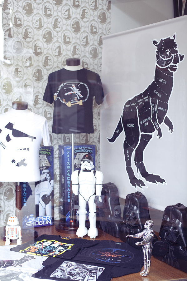 Star Wars merchandise in a window display of a shop on Haight in San Francisco.