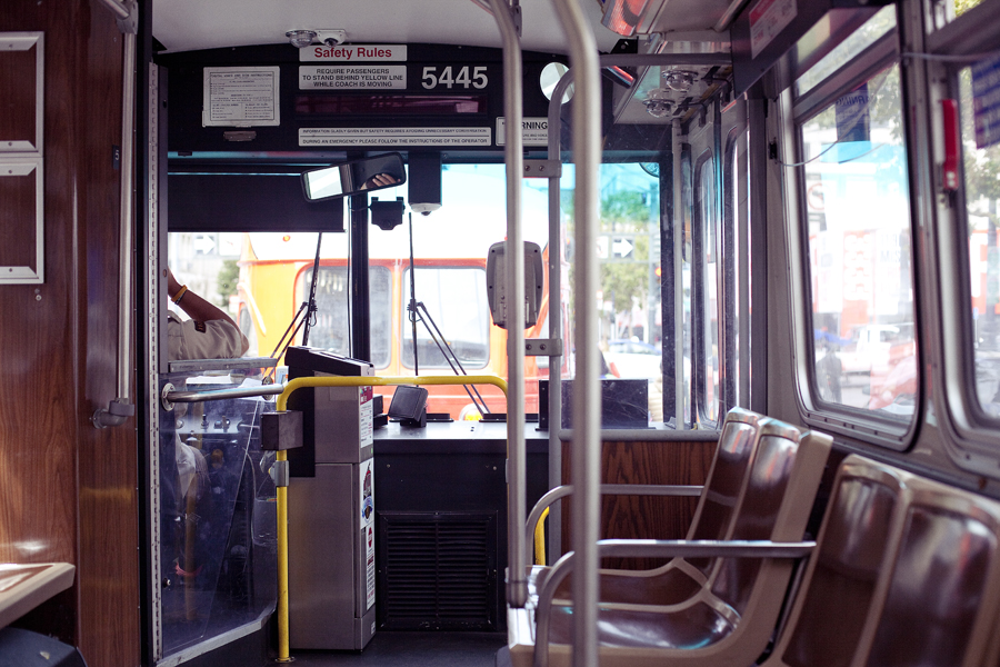 Interior of a bus in San Francisco.