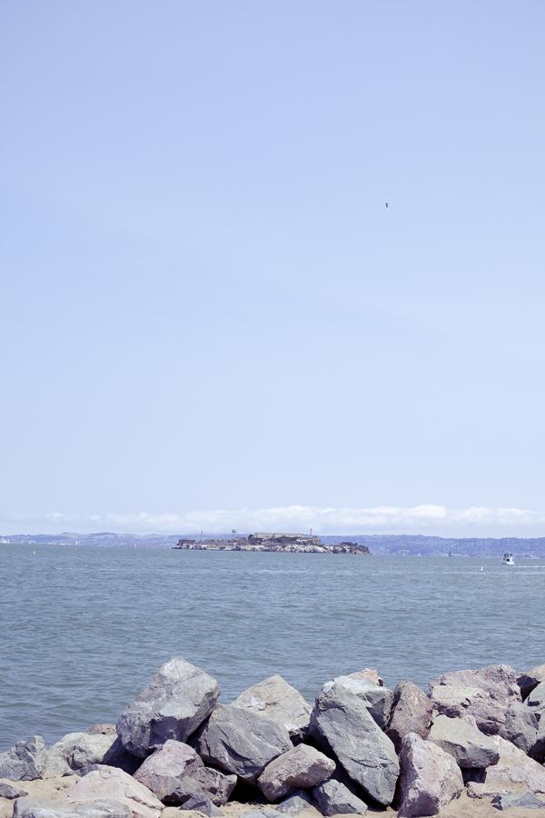 View of Alcatraz Island at Chrissy Fields in San Francisco, California.
