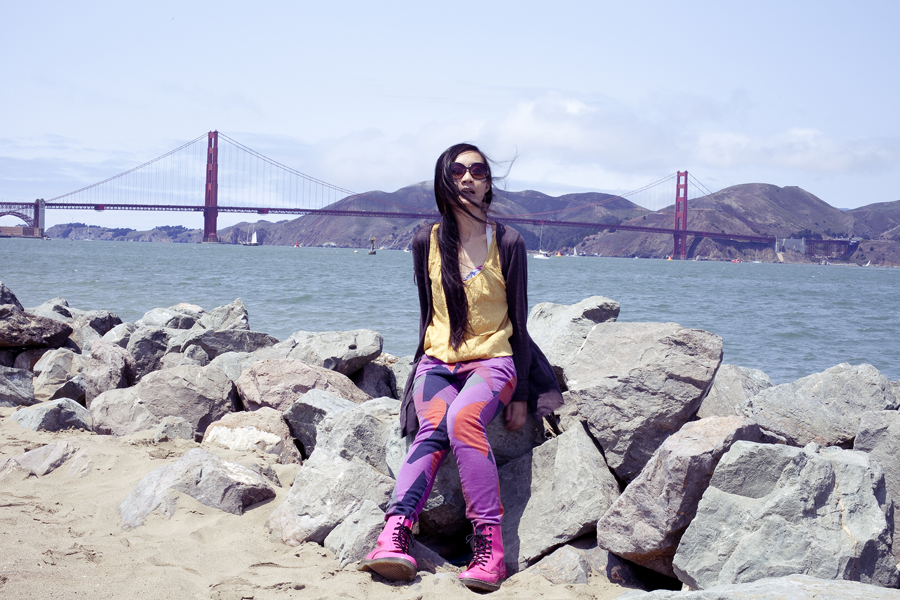 In front of the Golden Gate Bridge at Chrissy Fields in San Francisco, California.