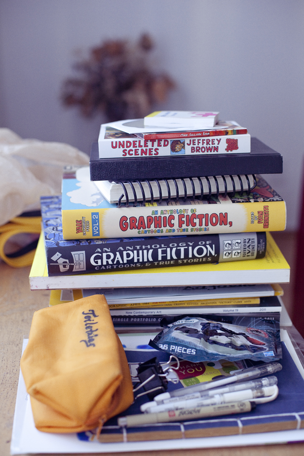 Books and graphic novels I left behind in Los Angeles.