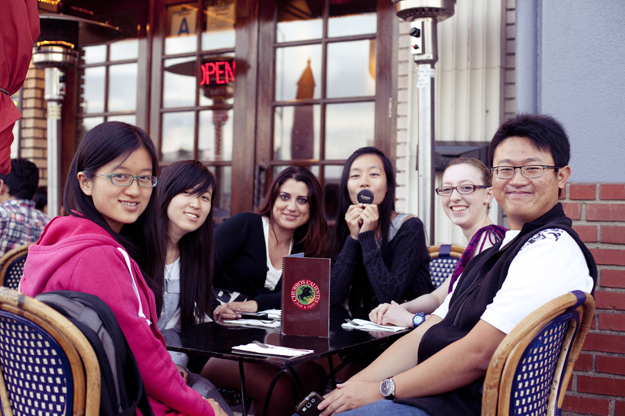 Zen, Qiu, Marta, Ren, Hunter, Json dining outside of Churros Calientes.