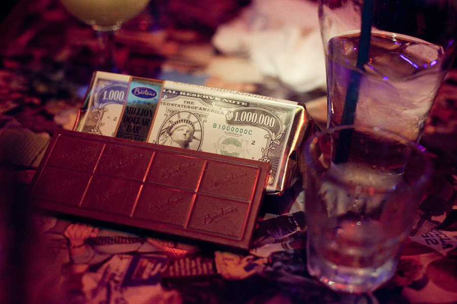 Bar of chocolate in a money cover.