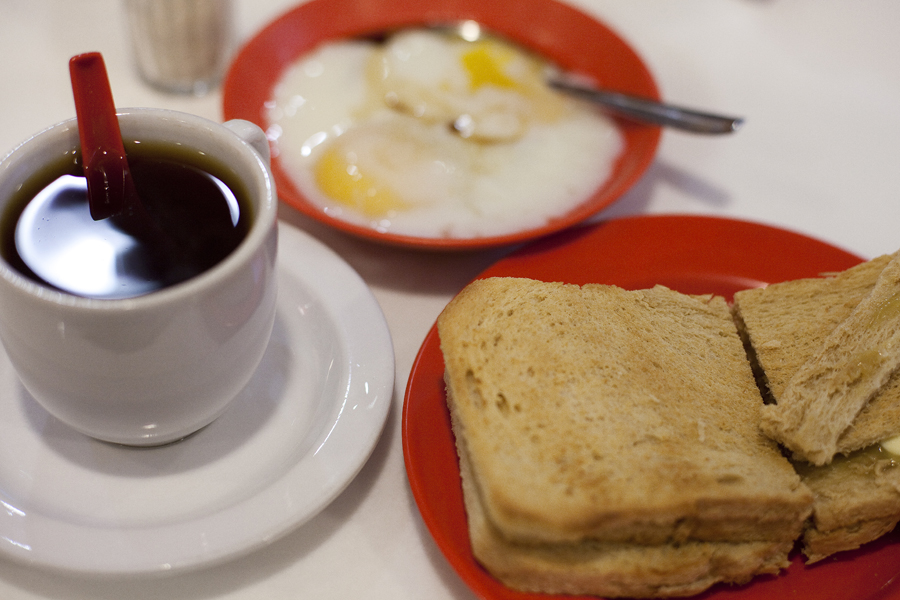 Kaya Butter Toast and half boiled eggs from Ya Kun Kaya Toast.