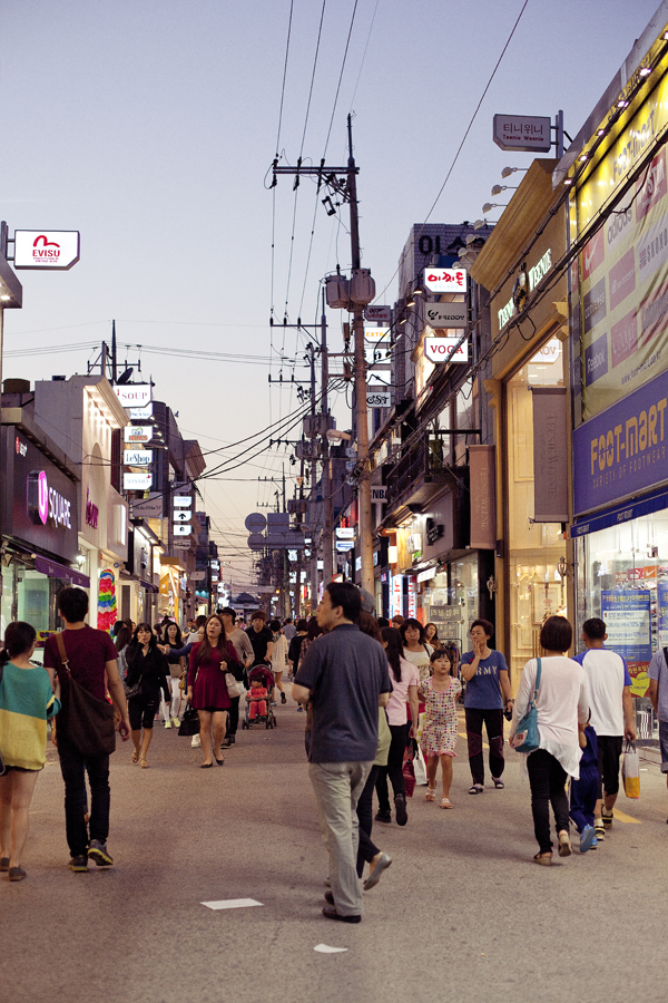 Down a shopping street in Gumi, South Korea.