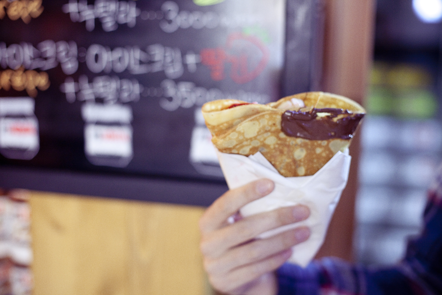 Strawberry and banana crepe from La Bonne Crepe in Busan, South Korea.