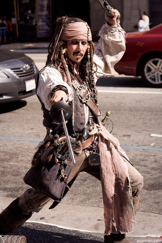 Jack Sparrow from Pirates of the Caribbean lookalike at Hollywood Star Walk in Los Angeles.