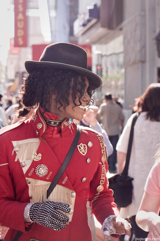 Michael Jackson lookalike at Hollywood Star Walk in Los Angeles.